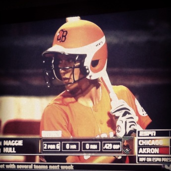 Photo taken of a TV, capturing on of my at bats on ESPN for the Chicago Bandits.